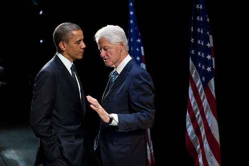 President Barack Obama talks with former President Bill Clinton backstage at the New Amsterdam Theater in New York, N.Y., June 4, 2012. (Official White House Photo by Pete Souza)
