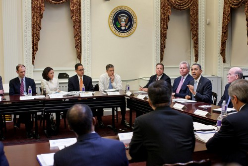 President Barack Obama meets with the members of the President's Council on Jobs and Competitiveness in the Eisenhower Executive Office Building at the White House, Feb. 24, 2011. (Official White House Photo by Pete Souza)
