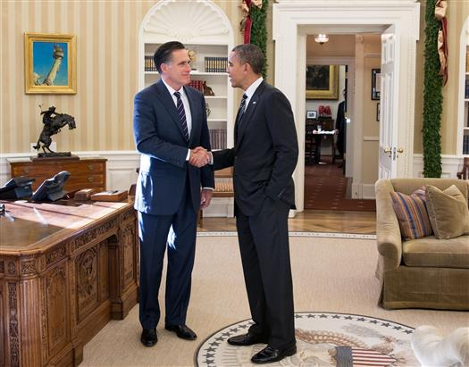President Barack Obama and former Massachusetts Gov. Mitt Romney talk in the Oval Office following their lunch, Nov. 29, 2012. (Official White House Photo by Pete Souza)