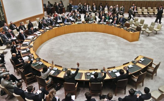 UN Security Council members vote to adopt sanctions against North Korea at the United Nations headquarters in New York, March 7, 2013