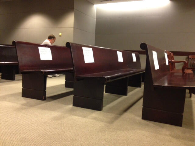 Photo of the media reserved seating at the Kermit Gosnell trial, Tweeted April 11th by Bucks County Courier Times columnist J.D. Mullane