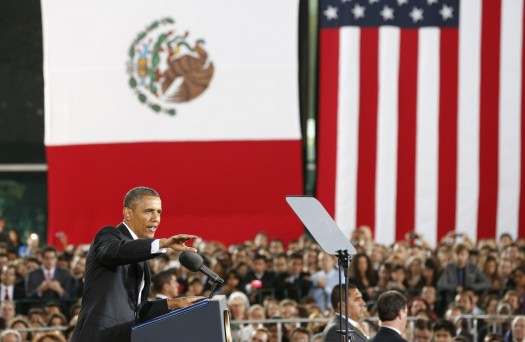 U.S. President Barack Obama delivers a speech at the Anthropology Museum during his visit to Mexico City May 3, 2013. REUTERS/Kevin Lamarque (MEXICO - Tags: POLITICS)