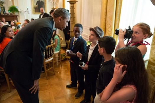 President Barack Obama greets young reporters at the Kids' State Dinner in the East Room of the White House, July 9, 2013. (Official White House Photo by Pete Souza)