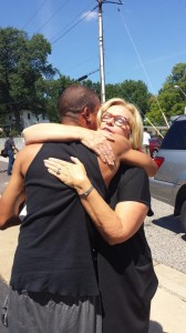 Sen. Claire McCaskill hugs an unidentified protester in Ferguson, Mo., Thursday. (Courtesy of Christine Ingrassia)