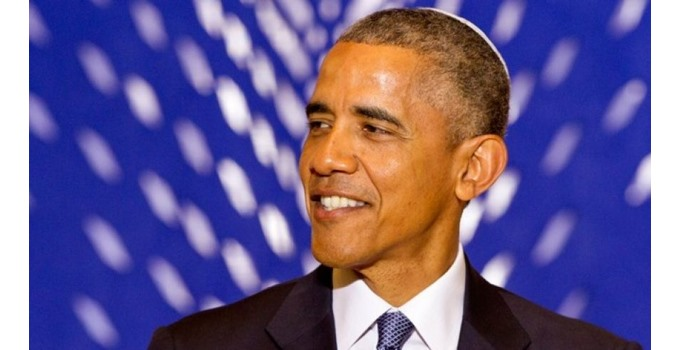 Obama wearing a yarmulke