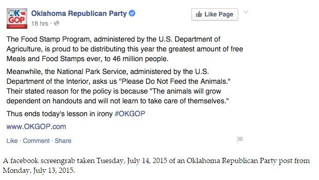 Oklahoma GOP Facebook post