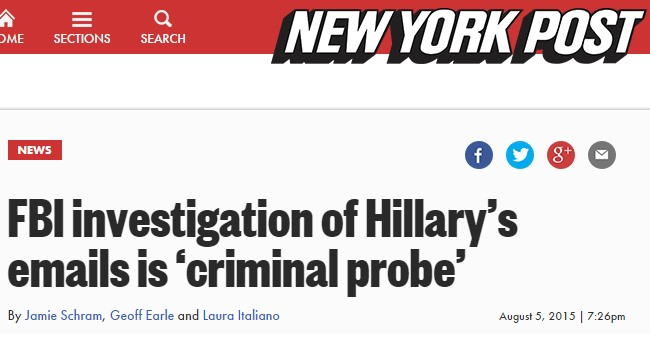 NYP Headline - Clinton Investigation