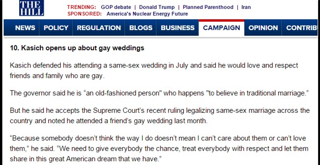 The Hill - Kasich - Gay Weddings