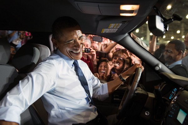 President Barack Obama greets Ford employees from the driver's seat of a Ford truck after delivering remarks on the economy at the Ford Kansas City Stamping Plant in Liberty, Mo., Sept. 20, 2013. (Official White House Photo by Pete Souza)