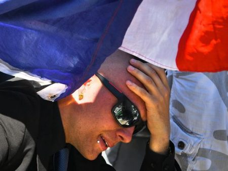 A man is overcome with emotion at a memorial on the Promenade des Anglais on July 15, 2016, in Nice, France. (Photo: David Ramos, Getty Images)